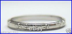 Antique Vintage Art Deco Women's Wedding Band 18K White Gold Ring Size 6.25 UK-M