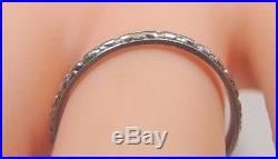 Antique Vintage Deco Women's Wedding Band Platinum Ring Size 6.75 UK-N 1.86 MM