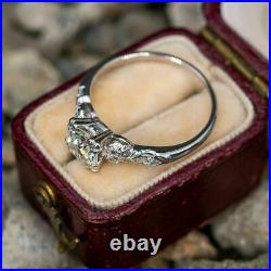 Antique Vintage Engagement Wedding Ring 2.11Ct VVS1 Diamond 14K Solid White Gold