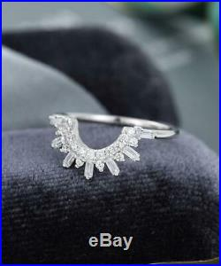 Antique Vintage Engagement Wedding Ring Band 2 Ct Round Diamond 14K White Gold