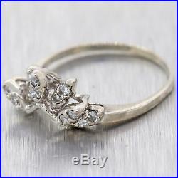 Antique Vintage Estate 14K White Gold Tiara Crown Wedding Band Ring D8