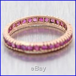 Antique Vintage Estate 14k Rose Gold. 60ct Ruby Wedding Band Ring A9