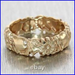 Antique Vintage Estate 14k Yellow Gold Engraved Bell Flower Wedding Band Ring