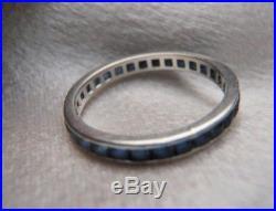 Antique Vintage Platinum Sapphire Wedding Eternity Band Ring Sz 7