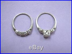 Antique Vntg 14K White Gold Diamond Bridal Engagement Set Ring & Band sz 6.5