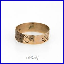 Antique Wedding Ring Victorian 14k Rose Gold Embossed Leaf Pattern Vintage 7.5