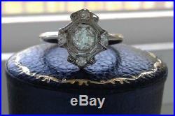Antique old mine diamond gold engagement ring vintage art deco nouveau wedding