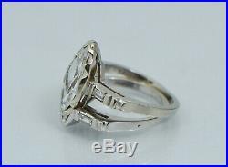 Art Deco 14K Marquise Diamond Engagement Ring Set Vintage White Gold Wedding Old