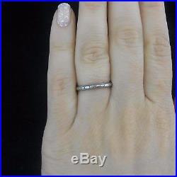 Art Deco 14k White Gold Wedding Band Ring Beautiful Engraving Work Vintage