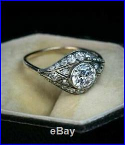 Art Deco 1.40Ct White Round Cut Diamond 14k White Gold Over Vintage Wedding Ring