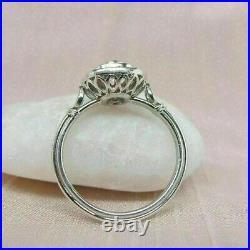 Art Deco 2.53 Ct Round Diamond Vintage Antique Wedding Ring 14K White Gold Fn