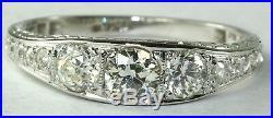 Art Deco Antique 18k White Gold. 85 Carat Diamond Wedding Band Ring