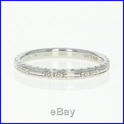 Art Deco Etched Floral Wedding Band 18k White Gold Vintage Women's Ring Size 6