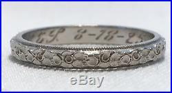 Art Deco Platinum Vintage Diamond Cut Wedding Floral Eternity Band Ring Sz7 L316
