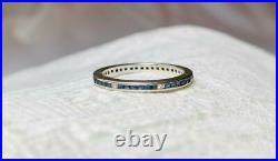 Art Deco Sapphire Diamond Platinum Eternity Band Ring Size 7 Wedding Engagement