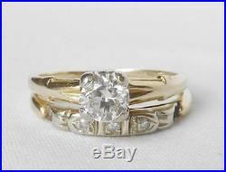 Art Deco Vintage 14K+Platinum. 45Ct European Diamond Engagement Wedding Ring Set