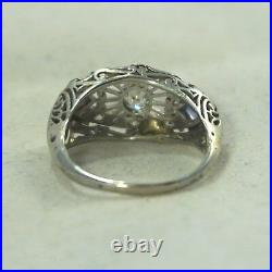 Art Deco Vintage 14k 18k White Gold. 45ctw Diamond Halo Sapphire Wedding Ring