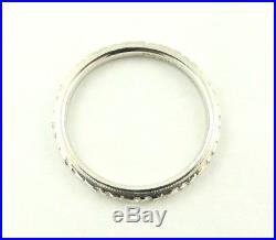 Art Deco Vintage 18k White Gold Eternity Wedding Band Milgrain 2.3mm Ring sz 6