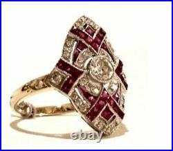 Art Deco Vintage 2.55 Ct White Diamond Ruby Antique Engagement Wedding Ring 7