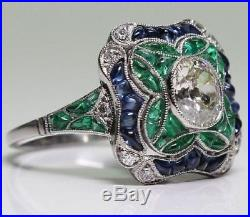 Art Deco Vintage 2 Ct Oval Diamond Engagement Wedding Ring 925 Sterling Silver