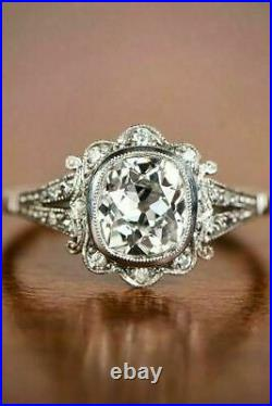 Art Deco Vintage 3.20 ct White Diamond Antique Wedding Ring 925 Sterling Silver