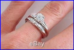 Art Deco Vintage Antique. 68ct Diamond 14K White Gold Engagement Ring Bridal Set