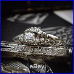 Art Deco Vintage Antique Engagement Cluster Bride Wedding Ring Ciraca 1960's