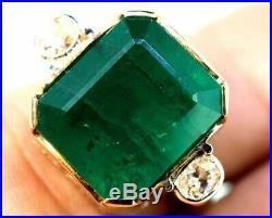 Art Deco Vintage Green 8.25 ct Emerald Sapphire Green Antique Wedding Ring HK-2