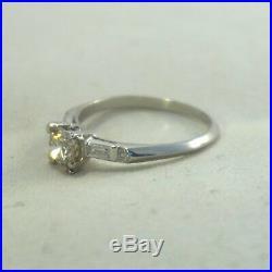 Art Deco Vintage Platinum VS2.85ctw. 60ct Center DIAMOND Baguette Wedding Ring