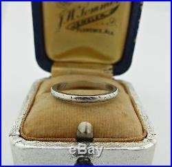 Art Deco Vintage Platinum Wedding Band Ring with Engraved Etched Design 6.25