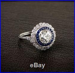 Art Deco Vintage White Round Diamond Estate Engagement Wedding Ring 14K Gold