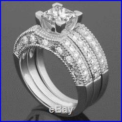 Band Set Diamond Ring 18 Karat White Gold Bridal Vintage Style Vs1 1.99 Carats