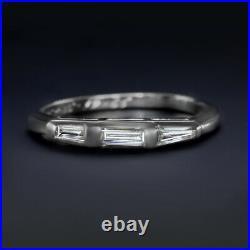 Baguette Cut Diamond F-g Vs Wedding Band Stackable Ring Platinum 3 Stone Vintage