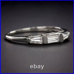 Baguette Cut Diamond G-h Vs Wedding Band Stackable Ring Platinum 3 Stone Vintage