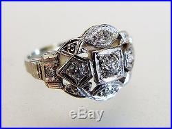 Beautiful Vintage 14K White Gold & Diamond Wedding Band Ring
