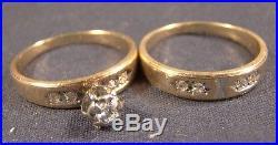 Beautiful Vintage 14 K Solid Gold Diamond Wedding Engagement Ring Set Sz 5 ½