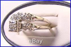 Beautiful Vintage 14 K White Gold Art Deco Diamond Attachable Sz 8 Wedding Set