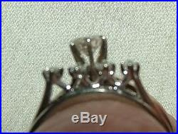 Beautiful Vintage 1975 KAY 14K White Gold Wedding Ring Set. 37 Ct Solitaire plus