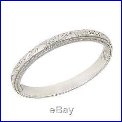 Beautiful Vintage Art Deco Platinum Wedding Band Ring