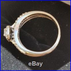 Beautiful Vintage Emerald Cut Cluster Genuine Diamond Engagement Wedding Ring