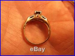 Beautiful Vtg Antique Art Deco Era 14k Yellow Gold & Diamond Wedding Ring Set