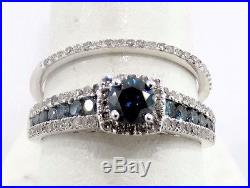 Blue Diamonds 14k White Gold Halo Engagement Ring Bridal Vintage Bridal Set