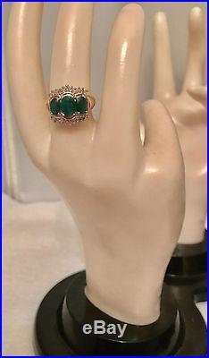 COLUMBIAN EMERALD DIAMOND VINTAGE ESTATE LADIES BAND RING 14K Y GOLD sz 6NEW