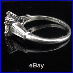C. 1950s Diamond Platinum Engagement Ring Vintage Estate Wedding Retro Estate