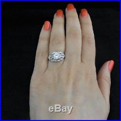 C. 1950s Vintage Diamond Platinum Engagement Ring Retro Estate Mid Century Bridal