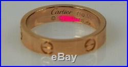 Cartier Rose Gold Love Wedding Band Ring Size 53 6.5 3.6mm Vintage