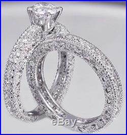 Certified 1.70ct Round Cut White Diamond 14k White Gold Vintage Engagement Ring