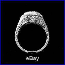 Certified 2Ct Asscher White Moissanite 14K White Gold Men's Vintage Wedding Ring