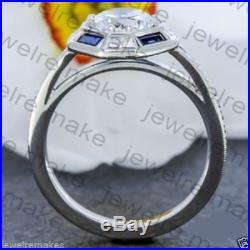 Certified 2.06CT White Round Diamond Vintage Engagement Wedding Ring 14K Gold