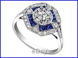 Certified 2.10Ct Round Cut White Moissanite 14K White Gold Vintage Wedding Ring